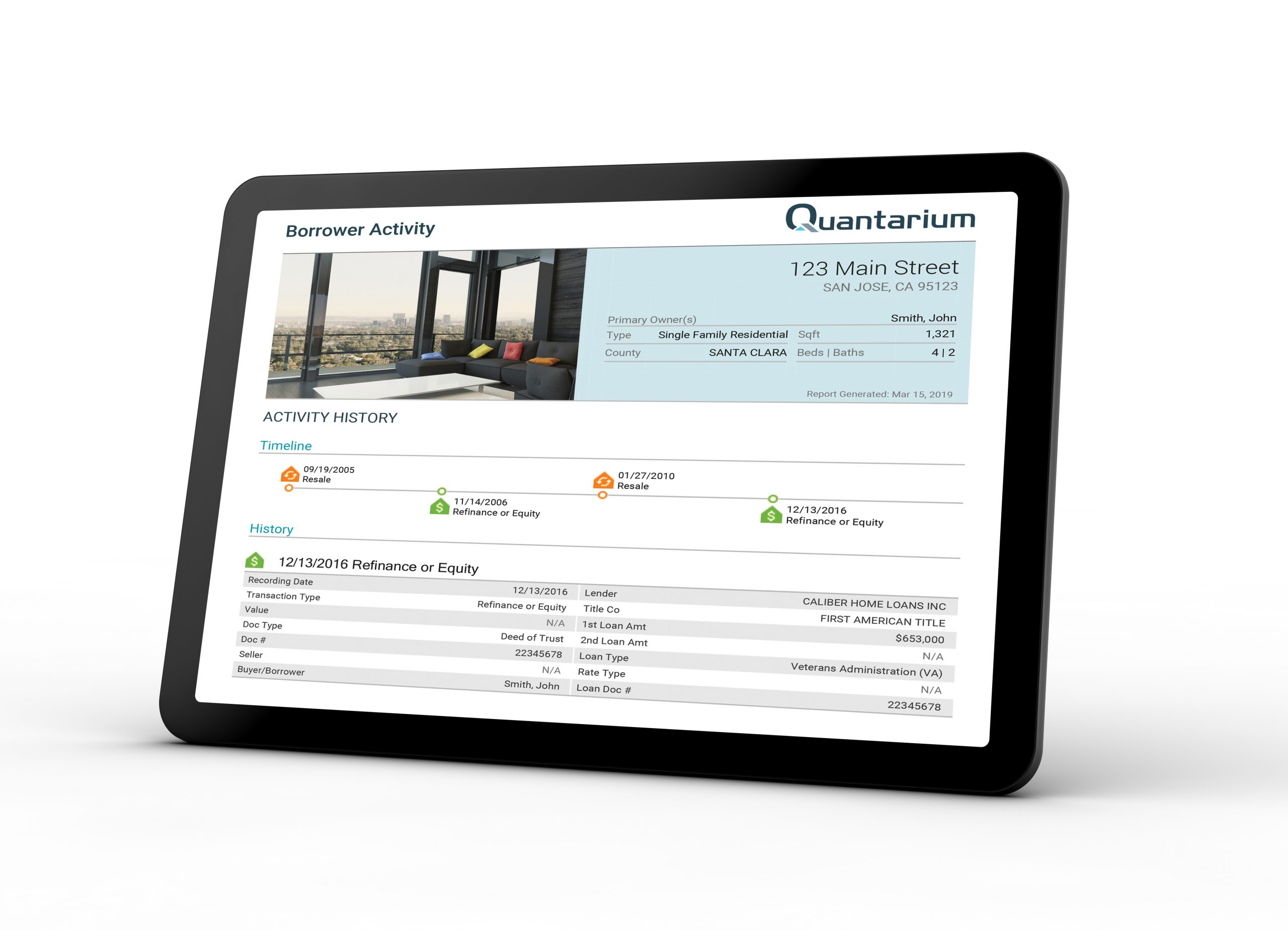 Quantarium Real Estate Data Licensing Borrower Activity Report
